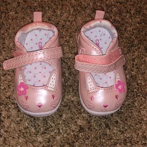 Pink baby girl shoes , hard bottoms